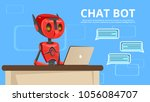 vector cartoon chat bot poster... | Shutterstock .eps vector #1056084707