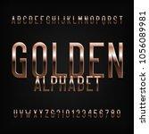 gold alphabet font. golden... | Shutterstock .eps vector #1056089981