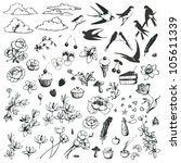 vector set of romantic doodles... | Shutterstock .eps vector #105611339