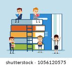 small people reading and... | Shutterstock .eps vector #1056120575