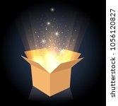 magic box. cardboard box with... | Shutterstock .eps vector #1056120827