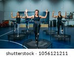 women group doing fit exercise... | Shutterstock . vector #1056121211