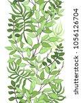 herbal seamless border of green ... | Shutterstock .eps vector #1056126704