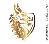 gold vector head of a dragon in ... | Shutterstock .eps vector #1056132764