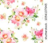 seamless summer pattern with... | Shutterstock . vector #1056137045