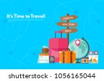 it s time to travel.trip to... | Shutterstock .eps vector #1056165044