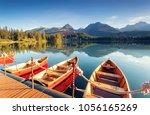 beautiful mountain lake in... | Shutterstock . vector #1056165269