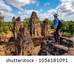 man tourist in pre rup temple...   Shutterstock . vector #1056181091