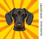 dachshund face. dog portrait... | Shutterstock .eps vector #1056182987