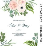 floral frame with anemone  rose ... | Shutterstock .eps vector #1056191717