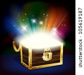 chest with glowing treasure  ... | Shutterstock .eps vector #105619187