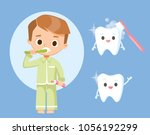 boy brushing teeth | Shutterstock .eps vector #1056192299