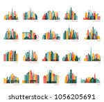 Skylines silhouette set (India, China, Japan, Seoul, Jakarta, Bangkok, Kuwait, Dubai, Saudi Arabia, Riyadh, Doha, Shanghai, New York and other). Travel and tourism background. Vector illustration