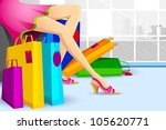 illustration of lady doing shopping in sale with colorful carry bag - stock vector