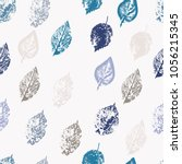seamless pattern from leaves of ... | Shutterstock . vector #1056215345