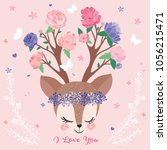 cute deer portrait drawing ... | Shutterstock .eps vector #1056215471