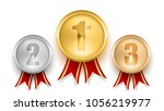 set of gold silver and bronze... | Shutterstock .eps vector #1056219977