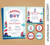 nautical theme baby shower... | Shutterstock .eps vector #1056223097