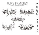 olive branches  hand drawn... | Shutterstock .eps vector #1056226814