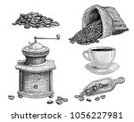 hand drawn coffee set  coffee... | Shutterstock .eps vector #1056227981