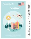 welcome seattle  poster with... | Shutterstock .eps vector #1056228341