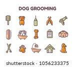 set of dog grooming line art... | Shutterstock .eps vector #1056233375