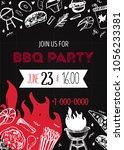 grunge bbq party invitation... | Shutterstock .eps vector #1056233381