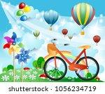 spring landscape with bike ...   Shutterstock .eps vector #1056234719