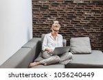 beautiful blonde smiling...   Shutterstock . vector #1056240449