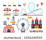 amusement park attractions.... | Shutterstock .eps vector #1056240935