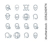 face recognition line icons.... | Shutterstock .eps vector #1056240974
