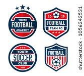 football logo badge isolated in ... | Shutterstock .eps vector #1056242531