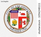 emblem of los angeles. city of... | Shutterstock .eps vector #1056248111