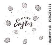 black lettering happy easter...   Shutterstock .eps vector #1056256181