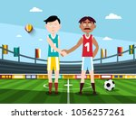 soccer players holding hands on ... | Shutterstock .eps vector #1056257261