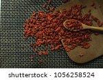 goji berries useful fruit...   Shutterstock . vector #1056258524