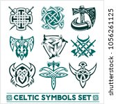 set of celtic symbols icons... | Shutterstock .eps vector #1056261125