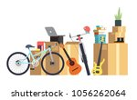 paper cardboard boxes with... | Shutterstock .eps vector #1056262064
