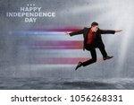 young asian businessman running ... | Shutterstock . vector #1056268331