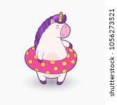 cute cartoon magical unicorn.... | Shutterstock .eps vector #1056273521