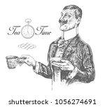 five o'clock tea time. elegant... | Shutterstock .eps vector #1056274691