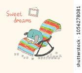cartoon sleeping owl. cute hand ... | Shutterstock .eps vector #1056278081