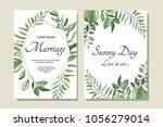 set of card with forest leaves. ... | Shutterstock .eps vector #1056279014