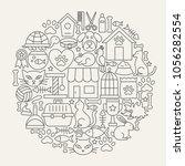 Pet Shop Line Icons Circle....