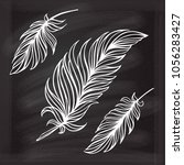 hand drawn vector feathers set...   Shutterstock .eps vector #1056283427