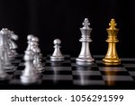 queen chess set with enemy... | Shutterstock . vector #1056291599