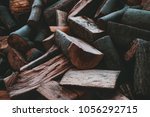 preparation of firewood for the ... | Shutterstock . vector #1056292715