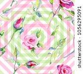 wildflower rose flower pattern... | Shutterstock . vector #1056295091