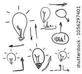 bulb light idea. concept of big ... | Shutterstock .eps vector #1056297401