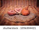 Small photo of Fresh ripe figs, fruit on a bamboo background.